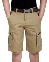 HOW'ON Mens Cotton Classic Casual Flat Front Cargo Shorts