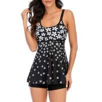 Zando Womens Tankini Swimsuits Two Piece Tummy Control Swimwear Modest Tankini Top with Boyshort 2 Piece Swimming Suit