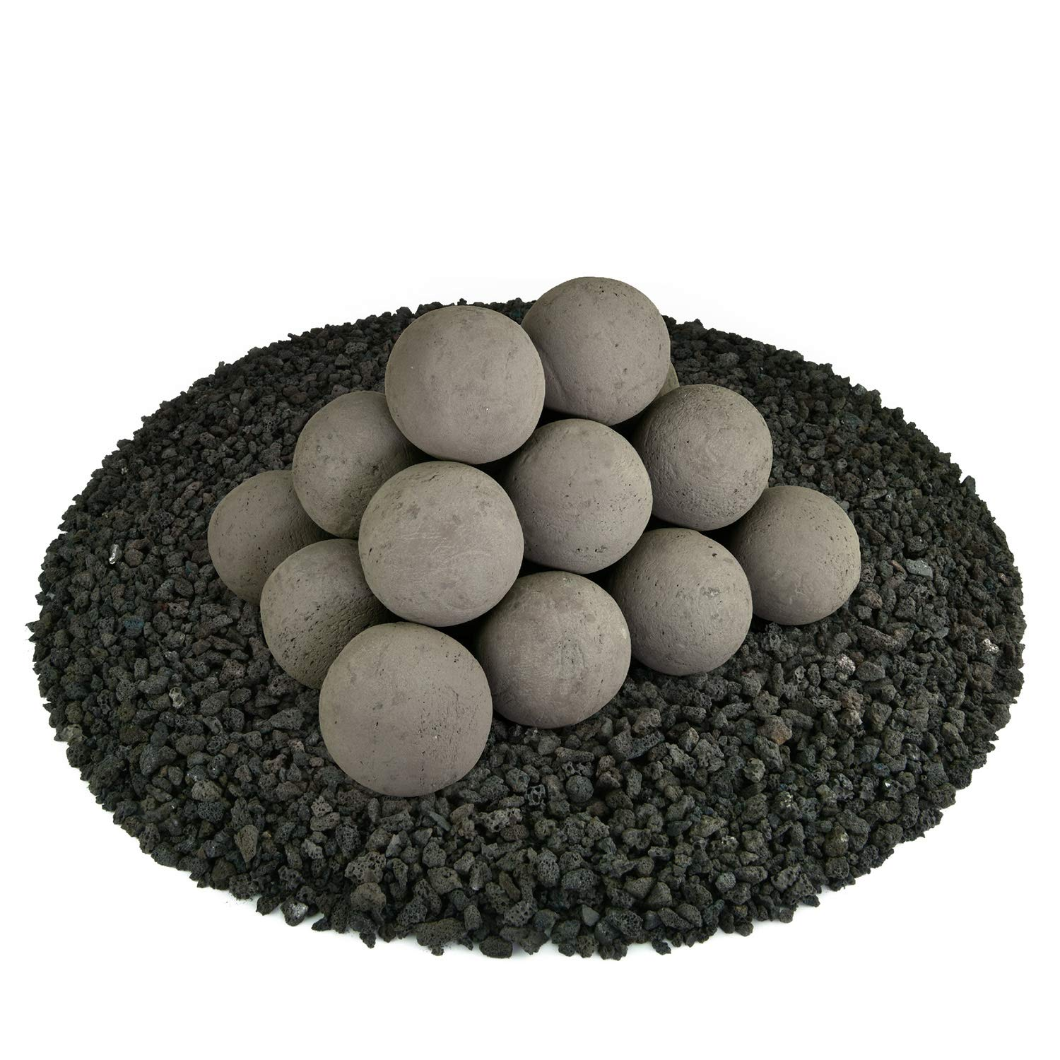 Ceramic Fire Balls | Set of 20 | Modern Accessory for Indoor and Outdoor Fire Pits or Fireplaces – Brushed Concrete Look | Charcoal Gray, 3 Inch