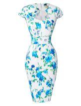 GRACE KARIN Women's 50s Vintage Pencil Dress Cap Sleeve Wiggle Dress CL7597