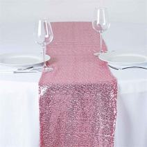 TRLYC 6 Pieces 12 by 108-Inch Wedding Rose Pink Sequin Table Runner, Rose Pink