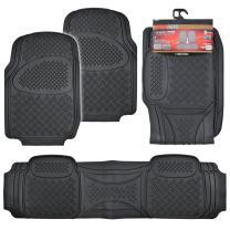 MotorTrend Premium Odorless Heavy Duty Trimmable High Grade Rubber Mats (Black)