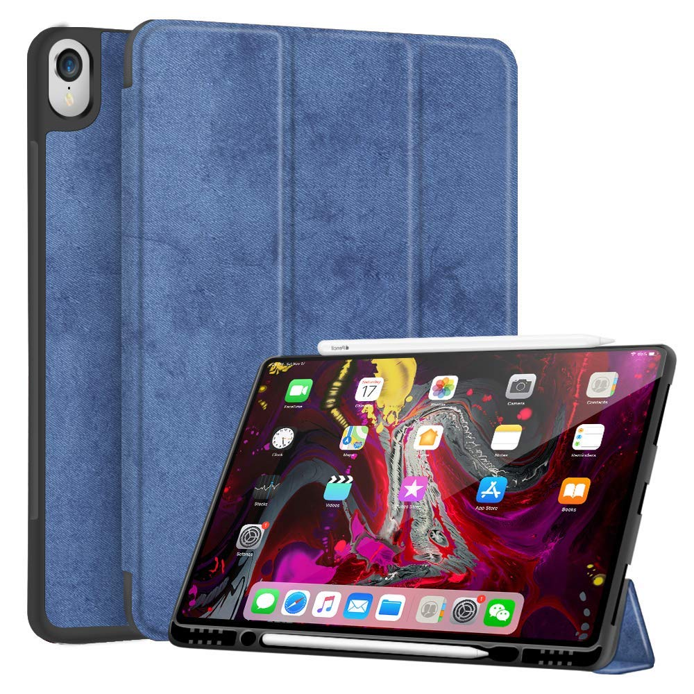 JUQITECH Smart Case for iPad 12.9 Case with Pencil Holder 2018 3rd Gen Support Apple Pencil Charging, Auto Sleep/Wake Trifold Stand Flexible Soft TPU Back Cover Smart Protective Case, Blue