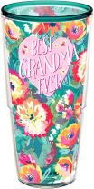 Tervis 1292550 Best Grandma Ever Floral Insulated Tumbler with Wrap 24oz, Emerald
