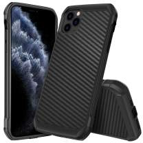 iPhone 11 Pro Case 2019, DUEDUE Carbon Fiber Slim Dual Layer Hybrid Shock Absorbing Hard PC Cover Bumper Soft TPU Rugged Back Phone Protective Case for iPhone 11 Pro 5.8 inch(2019)for Men/Boys, Black