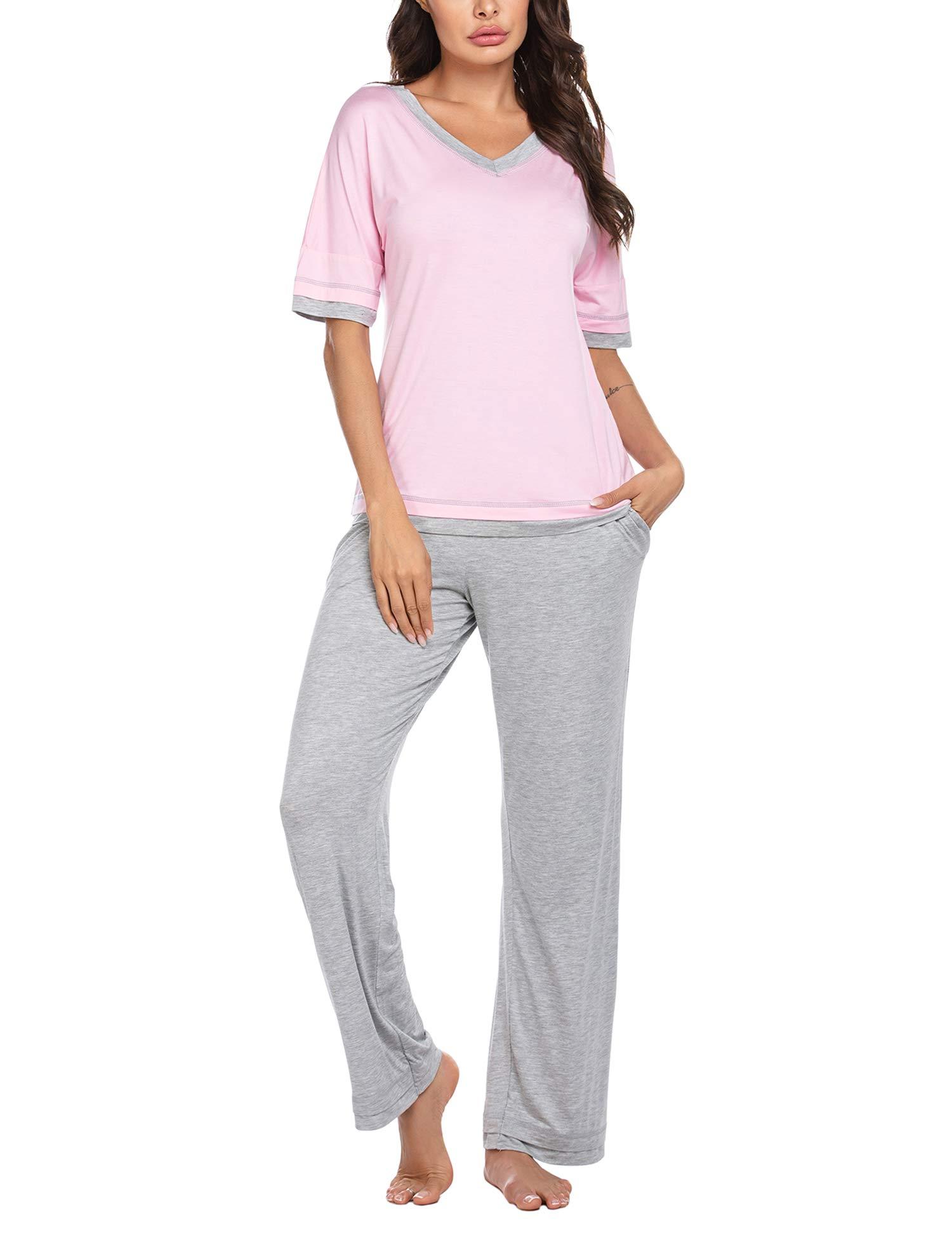 Ekouaer Pajamas Half Sleeve Pajama Set Top with Bottom Pjs V-Neck Sleepwear Soft Loungewear Set S-XXL