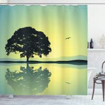 """Ambesonne Nature Shower Curtain, Plant Standinglone with Reflection in Water Gulls Silhouettes Nature Scenery, Cloth Fabric Bathroom Decor Set with Hooks, 75"""" Long, Green Yellow"""