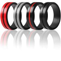 ThunderFit Silicone Rings for Men 4 Rings / 1 Ring - Bevel Thin Line Rubber Wedding Bands 6.35mm Wide - 2mm Thick