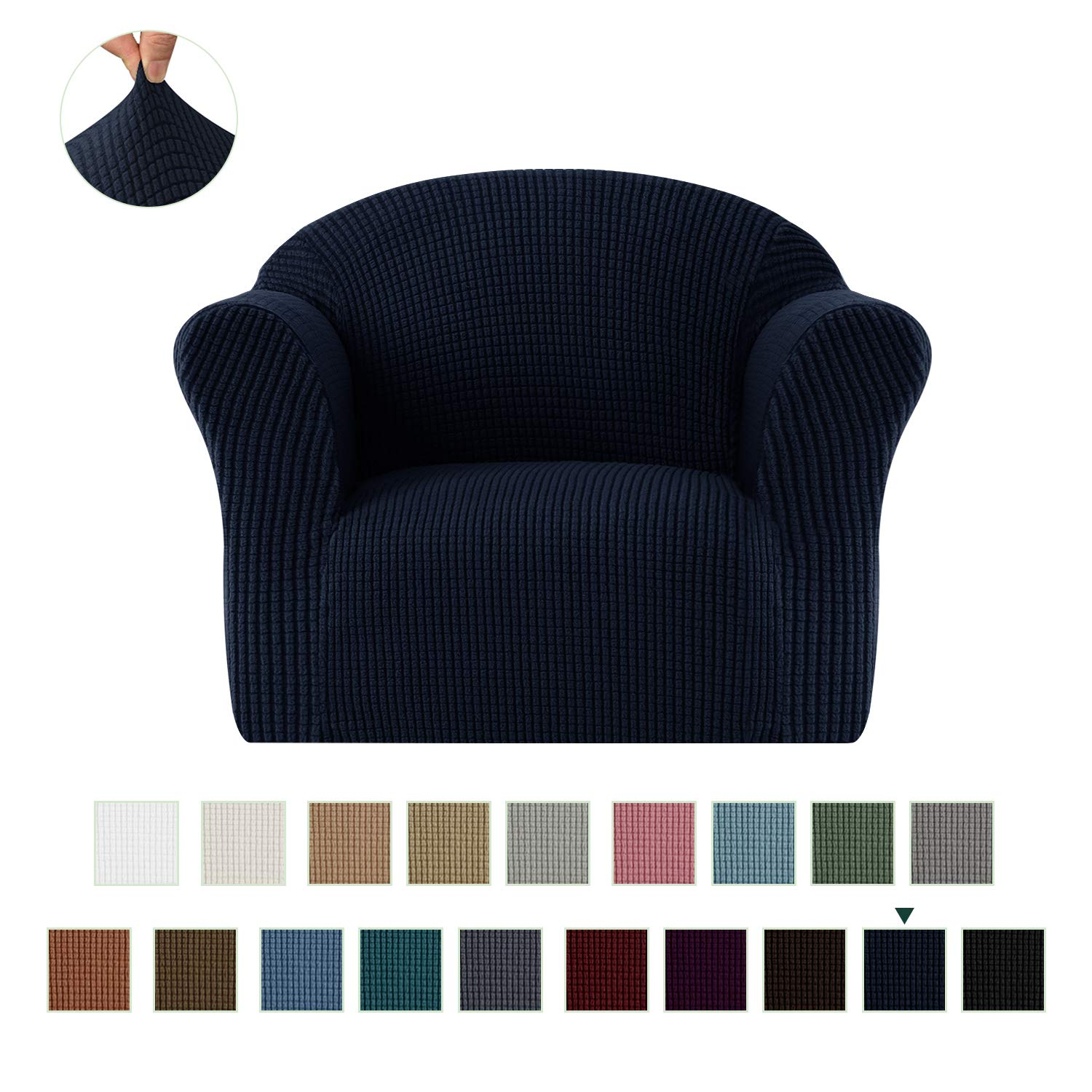 CHUN YI Jacquard HighStretch Kids Sofa Cover Child's Chair Cover Mini Size Sofa Slipcovers, 1 Seat Soft Armchair Couch Cover Settee Coat for Children/Toddlers/Baby (Dark Blue)