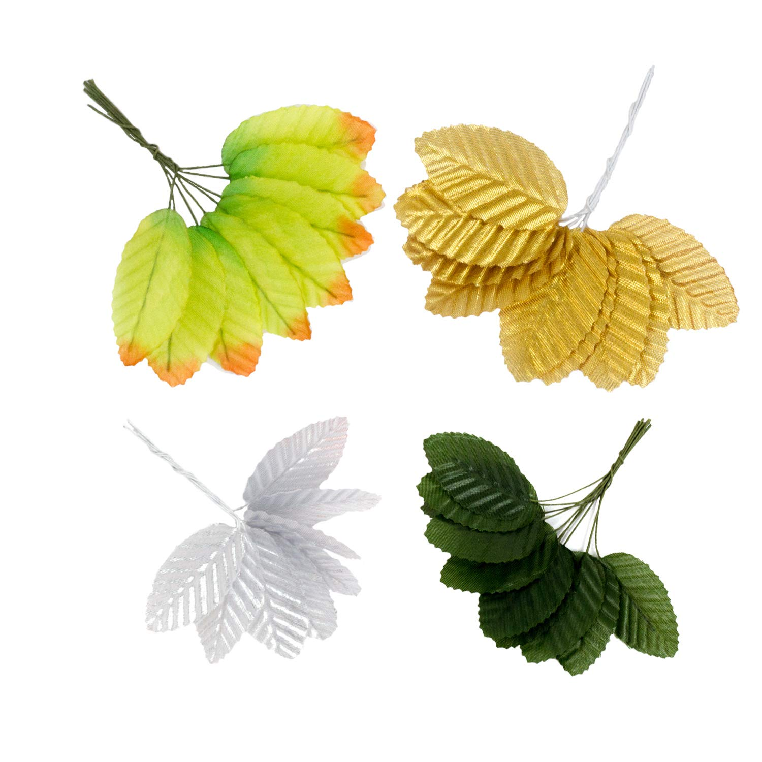 D-buy 200 Pcs Silk Leaf Mix Color Artificial Leaves, for Wedding Decor, DIY Home Decorative, Christmas Party Decoration, DIY Wreath Gift Scrapbooking, Craft Fake Flower Supplies (Mix Color)