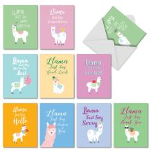 Llama Just Say - 10 Mixed Occasion Note Card Set with Envelopes (4 x 5.12 Inch) - Assortment of Colorful Animal Designs for Kids AM6445XXG-B1x10
