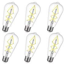 OMED Teardrop Edison LED Bulb 6 Watt - 60W Equivalent Filament Clear Glass 4000K Day White Color 650LM Light E26 Base Design - Dimmable Vintage Lamp for Pendant Bathroom Dressing Room - 6 Pack