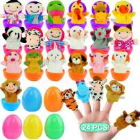 FUNNISM 24 Pieces Fun Finger Puppets Easter Eggs 2.5''for Easter Egg Hunt,Easter Basket Fillers,Classroom Prize Supplies,Birthdays,Kids Gifts and Party Favors