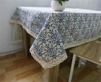 Washable Cotton Linen Fabric Vintage Navy Damask Pattern Decorative Macrame Lace Rectangle Tablecloth Dinner Picnic Table Cloth Home Decorative Oblong Table Cover Assorted (24 X 24 Inch (6060CM))