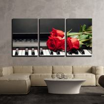 """wall26 - 3 Piece Canvas Wall Art - Piano Keys and Red Rose with Copy-Space - Modern Home Art Stretched and Framed Ready to Hang - 16""""x24""""x3 Panels"""