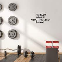 """Printique Vinyl Wall Art Decal - The Body Achieves What The Mind Believes - 13"""" x 25"""" - Modern Motivational Quote Sticker for Gym Bedroom Closet Home Work Office Living Room Classroom Decor (Black)"""