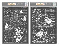 CrafTreat Mixed Media Stencils for Painting on Wood, Canvas, Paper, Fabric and Wall - Flower Collage & Bird Song - 2 Pcs - Size: A4 Each - Reusable DIY Art and Craft Stencils for Mixed Media Art