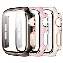 3 Pack Case for Apple Watch 38mm Series 3/2/1 Built-in Tempered Glass Screen Protector,JZK Ultra Thin HD Tempered Glass Full Coverage Hard Protective Cover for iWatch 38mm Accessories