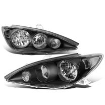 Replacement for 05-06 Camry XV30 Pair of Black Housing Clear Corner Headlights