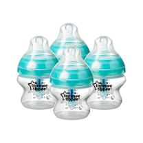 Tommee Tippee Advanced Anti-Colic Baby Bottle, Slow Flow Breast-Like Nipple, Heat-Sensing Technology, BPA-Free - Clear - 5 Ounce, 4 Count