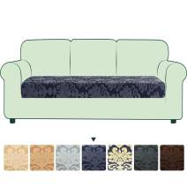 CHUN YI Stretch Couch Cushion Cover Replacement, Fitted Loveseat Sofa Chair Seat Slipcover Furniture Protector, Damask Pattern Spandex Jacquard Fabric (Large, Grayish Blue)