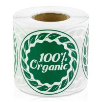 "100% Organic Food Farm Farmer's Market Fruit Stand Hobby Farm 2"" Round Labels Stickers (Green / 300 Labels per roll / 4 Rolls)"