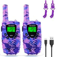 FAYOGOO Kids Walkie Talkies, 22-Channel FRS/GMRS Radio, 4-Mile Range Two Way Radios, Best Birthday Presents for 3 4 5 6 7 8 9 10 Year Old Girls Toys for Kids (Camo Purple)
