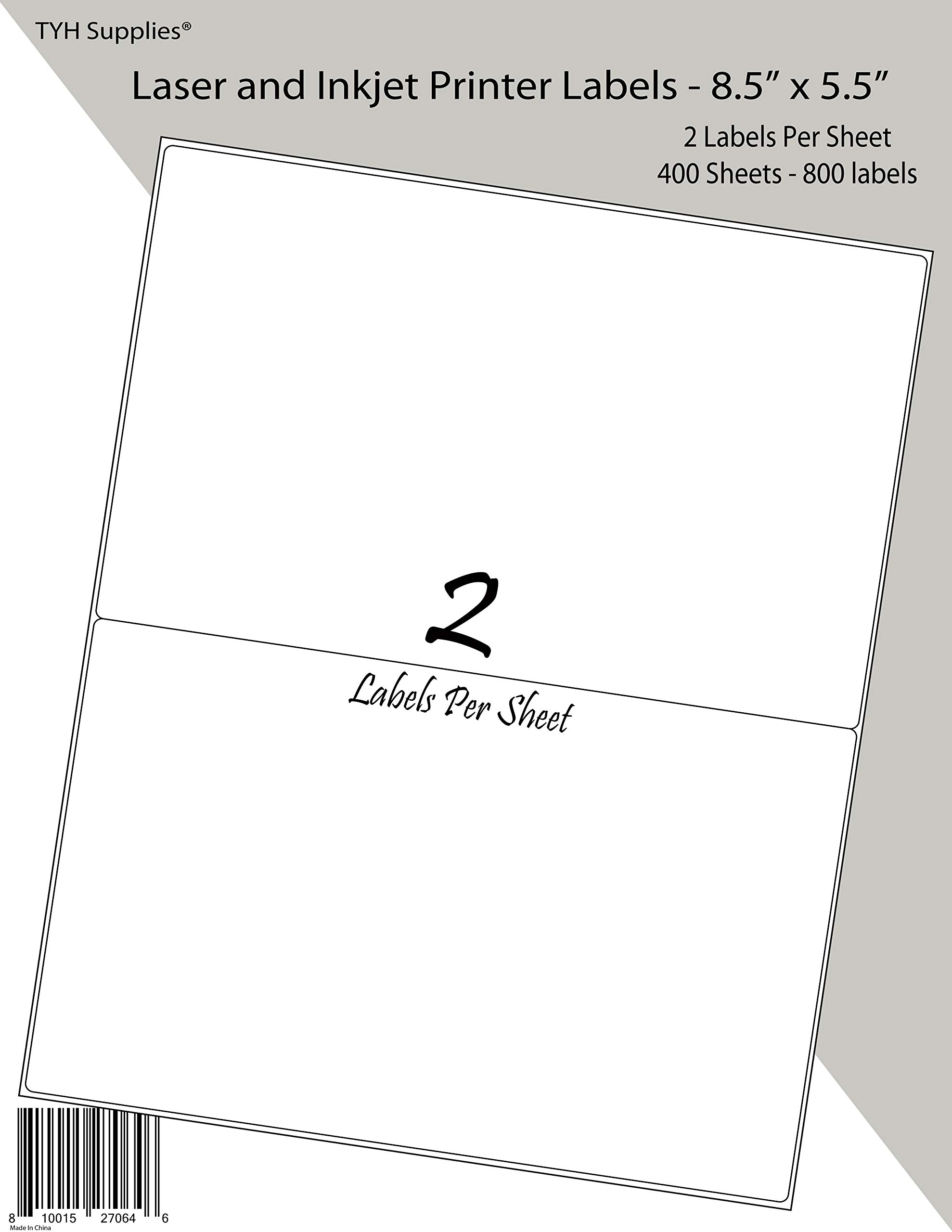 TYH Supplies Half Sheet Shipping Address Labels White Matte 8.5 x 5.5 Inch, 800 Labels, Laser & Inkjet, Strong Adhesive, Compatible with Avery 8126 Template