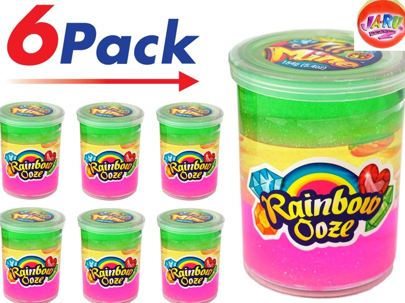 JA-RU Rainbow Putty Slime Kit Neon Glitter Colors (6 Units) Unicorn Party Girls Game. Slime Squishy and Stretchy. Arts and Crafts for Girls Party Favor Toy Supplies | Item #4634-6p