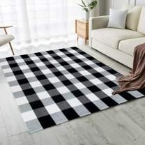 Carvapet Buffalo Checkered Rug Black White Checkered Carpet Buffalo Plaid Rugs 5 x 8 Feet Machine Washable Area Rug for Bedroom Living Room