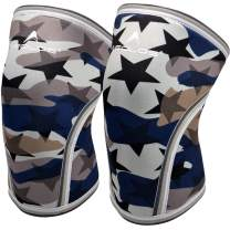 Knee Sleeves (1 Pair), 7mm Thick Compression Knee Braces Offer Strong Support for Weightlifting   Cross Training   Powerlifting   Bodybuilding   Squats   Gym and Other Sports (Medium, NO1.Star Camo)
