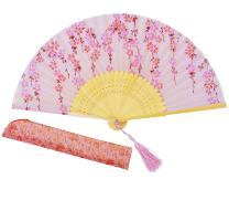 """Amajiji Charming Elegant Modern Woman Handmade Bamboo Silk 8.27"""" (21cm) Folding Pocket Purse Hand Fan, Collapsible Transparent Holding Painted Fan with Silk Pouches/Wrapping. (CZT-04)"""