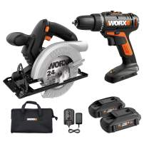 """WORX WX941L 20V Cordless Drill Driver WX101L and 20V 5-1/2"""" Circular Saw WX529L Combo Kit Battery and Charger Included"""