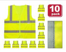 SAFE HANDLER Reflective Safety Vest | Lightweight and Breathable, Fluorescent Fabric, Hook & Loop Closure, Mesh Fabric, XX-Large, 10 PACK