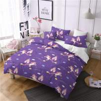 Jessy Home Unicorn Bedding Set Full Size Duvet Cover Kids Girls Quilt Cover Castle Cute Cartoon Rainbow Unicorn for Teen Princess Boy Bed Set Gift Purple Unicorn Duvet Cover+2 Pillowcases