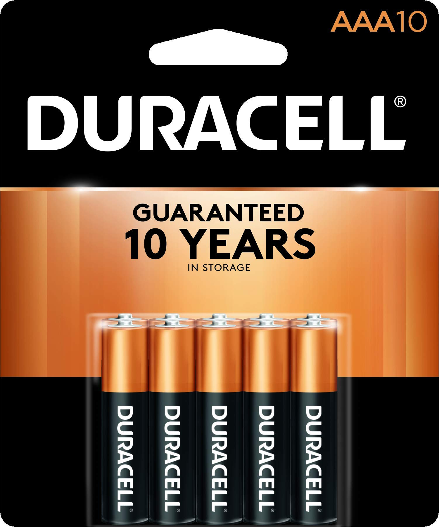 Duracell - Coppertop AAA Alkaline Batteries - long lasting, all-purpose Triple A battery for household and business - 10 count