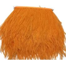 KOLIGHT Pack of 2 Yards Natural Dyed Ostrich Feathers Trim Fringe 4~5inch for DIY Dress Sewing Crafts Costumes Decoration (Orange)