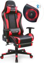 GTRACING Gaming Chair with Footrest and Bluetooth Speakers Music Video Game Chair【Patented Design】 Heavy Duty Ergonomic Computer Office Desk Chair Red