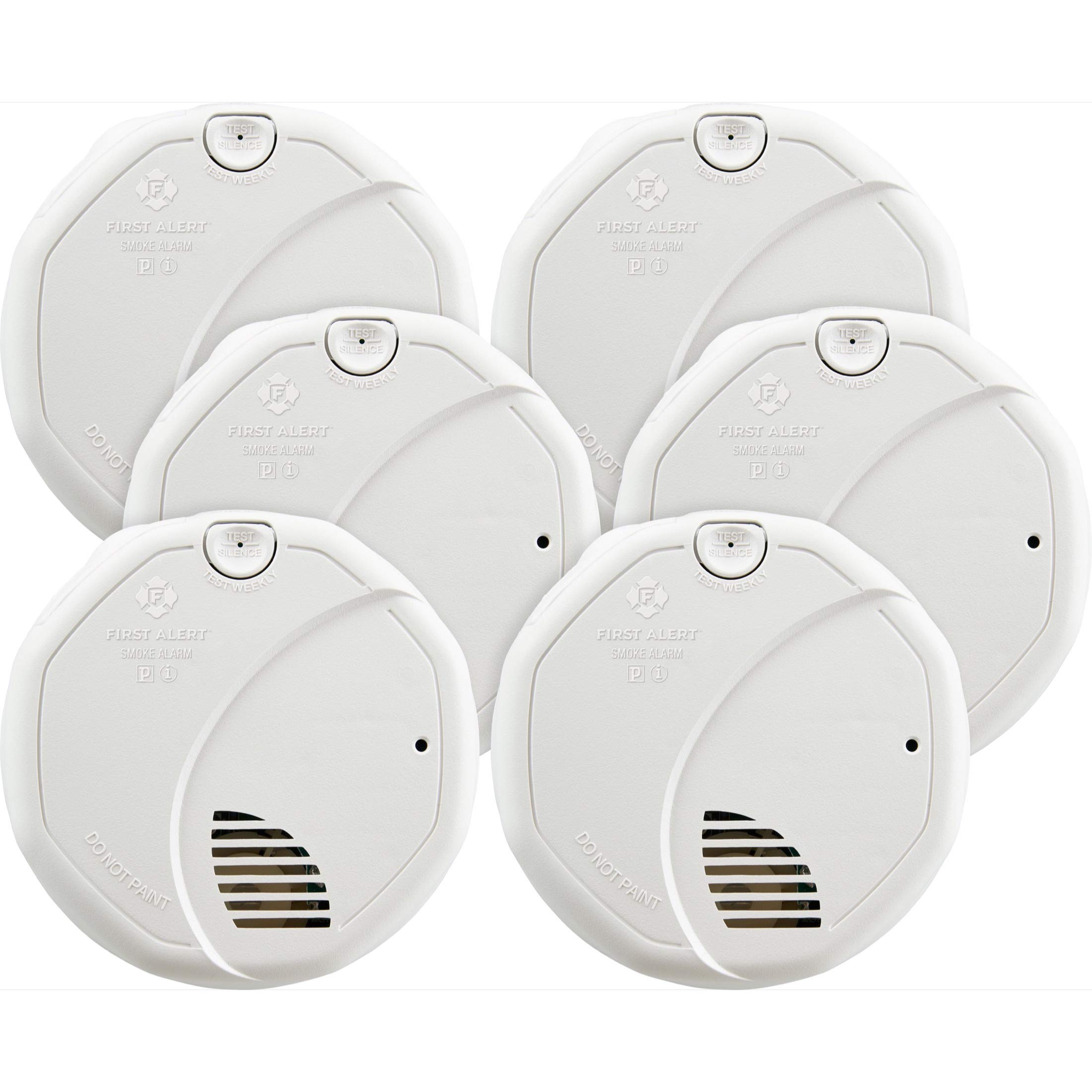 First Alert BRK 3120B-6 Hardwired Smoke Detector with Photoelectric and Ionization with Battery Backup, 6-Pack