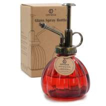 """OFFIDIX Plant Glass Spray Bottle,Flower Mister Indoor Plant Watering Can Pot 6.3"""" Tall Vintage Pumpkin Style Spritzer Bronze Plastic Top Pump One Hand Small Watering Cans for House Plants(Red)"""
