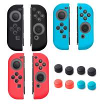 Insten [3 Pairs] Joy-Con Case [L & R] for Switch, Soft Silicone Joycon Skin Cover with [4 Pairs] Thumb Grip Stick Caps compatible with Nintendo Switch Joy Con Left and Right Controller Blue/Red/Black