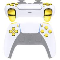 eXtremeRate Replacement D-pad R1 L1 R2 L2 Triggers Share Options Face Buttons for DualSense 5 PS5 Controller, Chrome Gold Full Set Buttons Repair Kits with Tool for Playstation 5 Controller