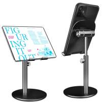 """Swhatty Cell Phone Stand Universal Tablet Dock, Angle Height Adjustable Sturdy All Aluminum Alloy Stable Phone Holder for Desk, Compatible with Mobile Phone/iPad 4.7""""-12.9"""" Screen (Black)"""