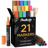 Chalk Markers & Metallic Colors (Pack of 21) Neon Chalk Pens - For Chalkboard, Blackboards, Window, Labels, Bistro, Glass - Wet Wipe Erasable - 6mm Reversible Bullet & Chisel Tip
