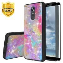 TJS Phone Case for LG Stylo 5/LG Stylo 5 Plus/LG Stylo 5V/LG Stylo 5X, with [Full Coverage Tempered Glass Screen Protector] Shiny Glitter Back Skin Full Body Soft TPU Rubber Bumper Cover (Rainbow)