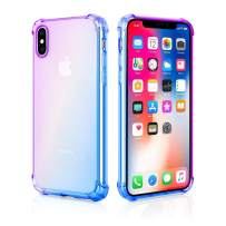 UBESTY iPhone Xs Max Case, Bumper Soft TPU Ultra Thin Slim Fit Cover Anti-Scratch Protective Cases for iPhone Xs Max Case Gradient Color (Purple Blue)
