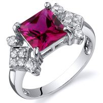 Created Ruby Princess Cut Ring Sterling Silver Rhodium Nickel Finish 2.25 Carats Sizes 5 to 9