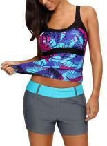 Blibea Women's Stripe Printed Surfing Tankini Swim Tops Swimwear (ONLY Tankini TOP)