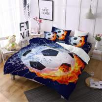 Oliven 3 Pcs Boys Bedding 3D Fire Soccer Duvet Cover Queen Size Football Quilt Cover Kids Sports Bedding Bed Cover Set-No Comforter