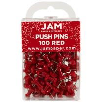 JAM PAPER Colorful Push Pins - Red Pushpins - 100/Pack